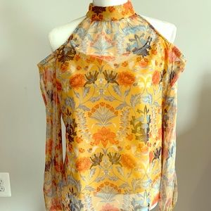 INC like new cold shoulder blouse floral